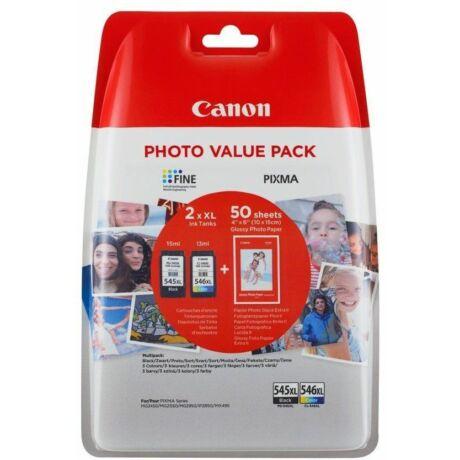 Canon PG-545XL BK / CL-546XL CMY eredeti 2db-os tintapatron csomag + Fotópapír