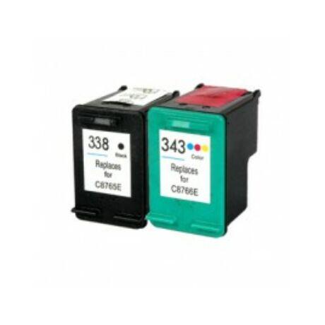 HP 338 /HP 343 (C8766E/C8766E) utángyártott (fekete-színes) tintapatron csomag